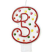 Red Outline Polka Dot Number 3 Candle