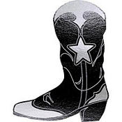 Black Cowboy Boot Cutout 16in