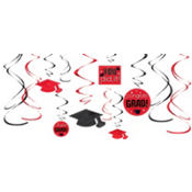 Red Graduation Swirl Decorations 12ct