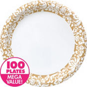 Gold Damask Heavy Duty Dinner Plates 100ct