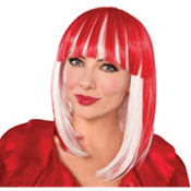 Red and White Swing Bob Wig