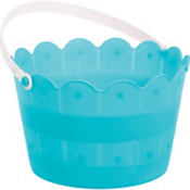 Caribbean Blue Plastic Scalloped Easter Basket
