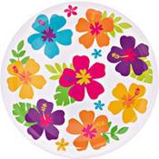 White Hibiscus Round Platter