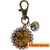 Vintage Rhinestone Map Key Chain