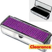 Purple Rhinestone Lipstick Case