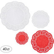 Red and White Round Doilies