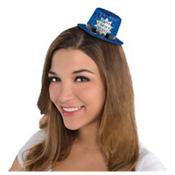 Blue Happy New Year Glitter Mini Top Hat