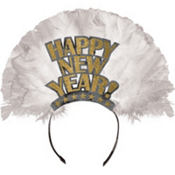 Gold Happy New Year Feather Tiara