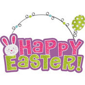 Pastel Glitter Happy Easter Sign
