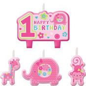 Wild at One Girl's 1st Birthday Candles 4ct