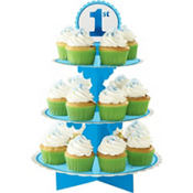 Blue 1st Birthday Cupcake Stand