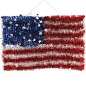 American Flag Tinsel Decoration