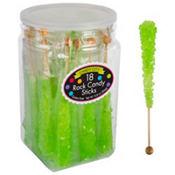 Kiwi Green Rock Candy Sticks 18pc