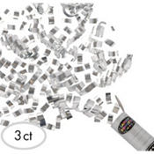 Silver Confetti Party Poppers 3ct