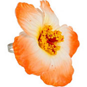 Orange Hibiscus Flower Ring