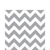 Silver Chevron Lunch Napkins 16ct