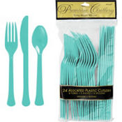 Robin's Egg Blue Premium Plastic Cutlery Set 24ct