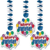 Balloon Party Dangling Cutouts 3ct