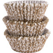 Gold & White Scroll Baking Cups 75ct