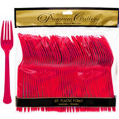 Red Premium Plastic Forks 48ct