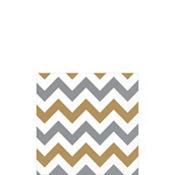 Silver & Gold Chevron Beverage Napkins 16ct