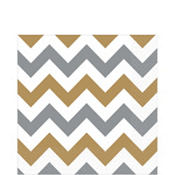 Silver & Gold Chevron Lunch Napkins 16ct