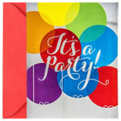 Metallic Rainbow Balloon Invitations 8ct