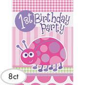 Pink Ladybug 1st Birthday Invitations 8ct