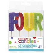 Glitter Multicolor Four Birthday Toothpick Candles 4ct