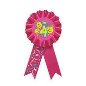 Smile 4th Birthday Award Ribbon