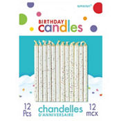Glitter White Birthday Candles 12ct