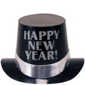 Black and Silver Happy New Years Top Hat