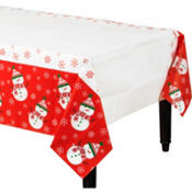 Very Merry Snowman Paper Table Cover 54in x 96in