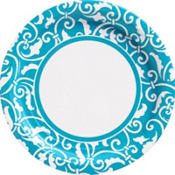 Caribbean Blue Ornamental Scroll Party Supplies