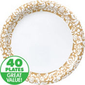 Gold Damask Value Plates & Tableware