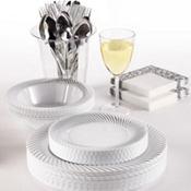 White Silver Swirl Border Premium Tableware