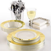 Vanilla Cream Gold Border Premium Tableware