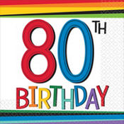 Rainbow 80th Birthday Party Supplies