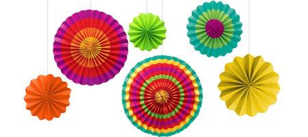 quick shop fiesta paper fan decorations 6ct - Fiesta Decorations