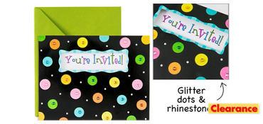 Premium Glitter Dots Invitations 8ct