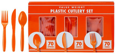 Orange Plastic Cutlery Set 210ct