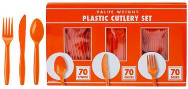 Orange Plastic Cutlery Set 210ct