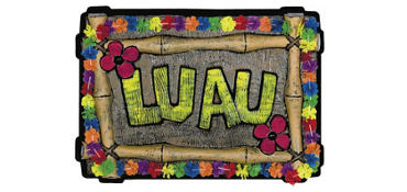 Luau Sign with Floral Trim