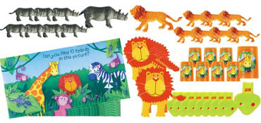 Jungle Animals Party Favor Value Pack with 48 pieces