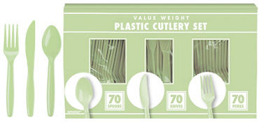 Leaf Green Plastic Cutlery Set 210ct