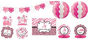Pink Safari Baby Shower Room Decorating Kit 10pc