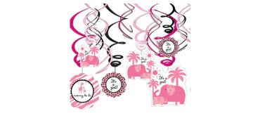 Pink Safari Baby Shower Swirl Decorations 12ct