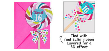 Premium Glitter Lollipop Sweet 16 Invitations 8ct