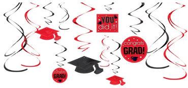 Red Graduation Swirl Decorations 12ct