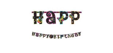 Neon Doodle Birthday Banner 10ft